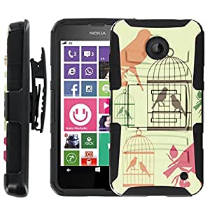 [ManiaGear] Heavy Duty Combat Armor Dual Layer Design Image Case With Kickstand Belt Holster Case (Bird Cages) for Nokia Lumia 635