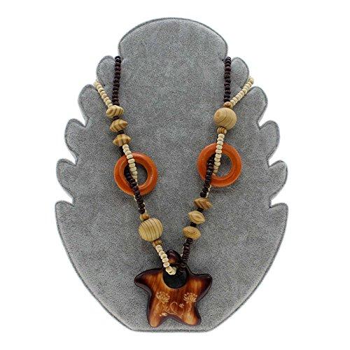 Longue exquisite style ethnique bois pentagone étoilé pendentif bois collier
