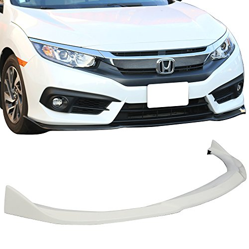 Pre-Painted Front Bumper Lip Fits 2016-2018 Honda Civic | CS Style Taffeta White #NH578 PU Front Lip Finisher Under Chin Spoiler Add On other color available by IKON MOTORSPORTS | 2017
