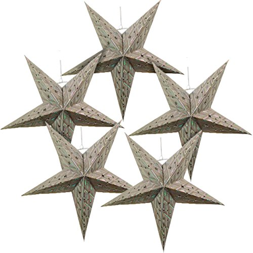 Just Artifacts - Star Shaped Paper Lantern/Lamp Hanging Decoration - (Set of 5, 18inch, Silver)