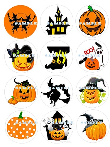 HALLOWEEN : edible cupcake topper birthday image decor frosting party decoration sports premium sheets -