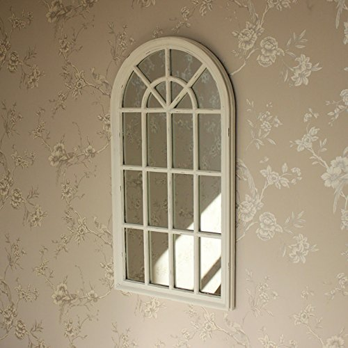 Melody Maison Large Cream Arched Window Wall Mirror Buy