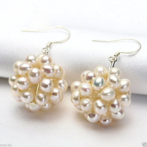 (Pair Natural White Freshwater Pearl Cluster Sterling Silver Hook Dangle Earrings)
