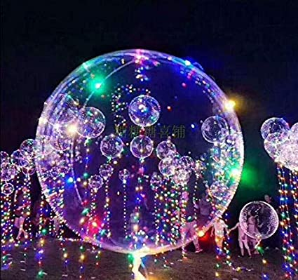 buy online 05fe0 a2d77 18 Inch 5 PCS Led Light Up BoBo Balloon Colorful Lights, Transparent  Balloons with Helium, Great for Christmas Party, House Decorations, Wedding  and ...