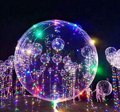 18 Inch 5 PCS Led Light Up BoBo Balloon Colorful Lights, Transparent Balloons with Helium, Great for Christmas Party, House Decorations, Wedding and Party Decoration