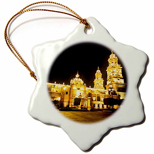 3dRose orn_86677_1 Cathedral of Morelia, Michoacn de Ocampo, Mexico - SA13 HGA0033 - Howie Garber - Snowflake Ornament, Porcelain, 3-Inch by 3dRose