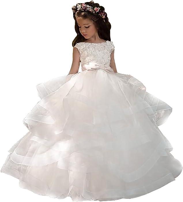 Amazon.com: Adela Ball Lace Beaded Pageant Flower Girl Dresses Long ...