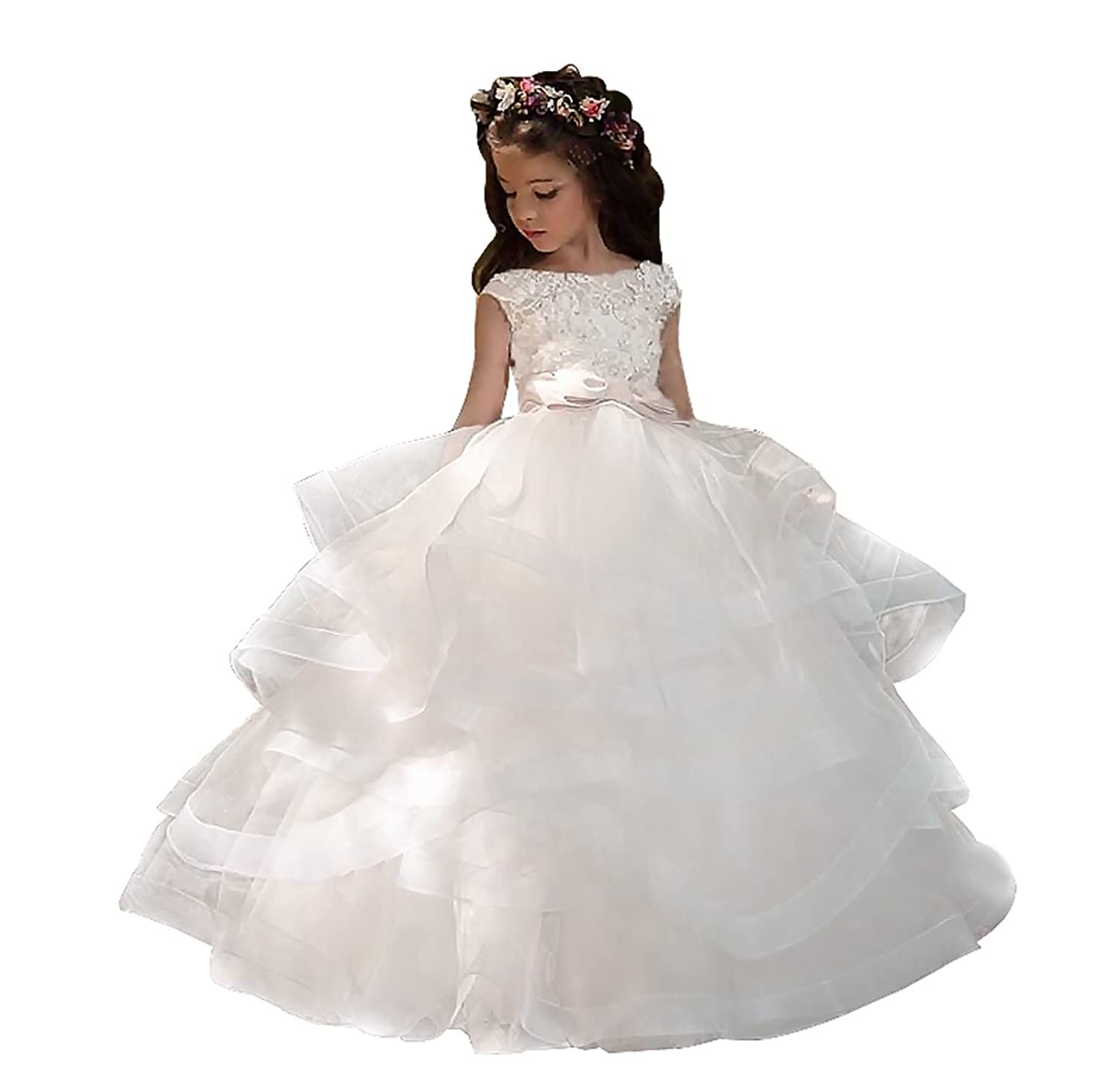 Adela Ball Lace Beaded Pageant Flower Girl Dresses Long Kids Prom Pageant First Communion Gown AR010