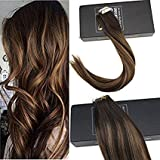 Sunny 16inch Tape in Hair Extensions Brown Color #2 Darkest Brown Fading to #6 Medium Brown Mixed #2 Tape in Hair Extensions Human Hair Brown with Highlights 20pcs 50g