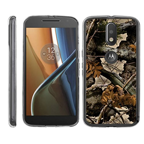 TurtleArmor | Motorola Moto G4 Case | Moto G 4th Gen | Moto G4 Plus Case [Flexible Armor] Clear Flexible TPU Case Slim Fitted Soft Armor Cover - Tree Leaves Camouflage