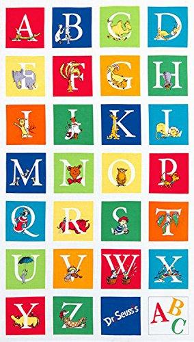 - 1 Panel Dr. Seuss ABC Alphabet Adventure by Robert Kaufman 100% Cotton Quilt Fabric ADE-14694-267
