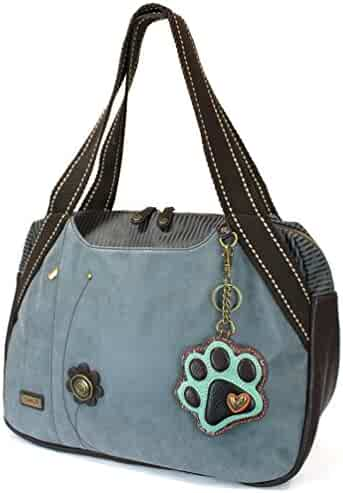 Chala Handbag Bowling Zip Tote- Indigo (Teal Paw) 21f43812dcae5