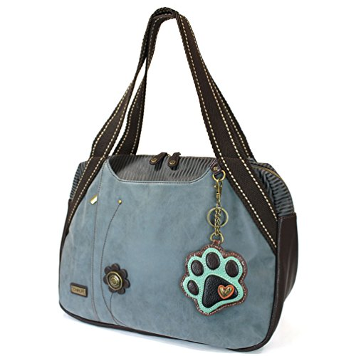 - Chala Large Bowling Tote Bag with coin purse Indigo (Paw Print - Indigo)