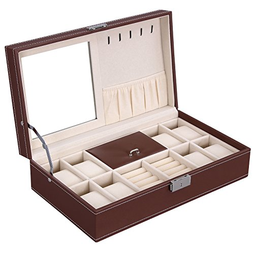 SONGMICS Brown Jewelry Box 8 Watch Organizer Faux Leather Storage Case w/ Lock & Mirror UJWB41Z