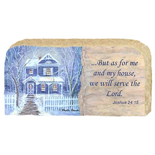 Blue House in Snow - Religious Scripture Joshua 24:15 - Unique Christmas Gift, Artwork Prints on Limestone Enhanced by Hand Painted Edge - Originals Painted By Artist Phyllis Shanks - #4707