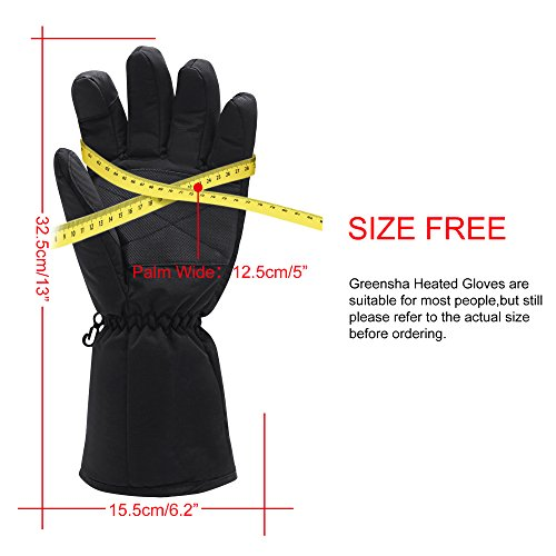 Greensha Rechargeable Electric Battery Heated Gloves for Men/&Women,Outdoor Indoor battery powered Hand Warmer,Novelty Thermal Gloves for Hiking Skiing Cycling/&Hunting Black, No Battery Included