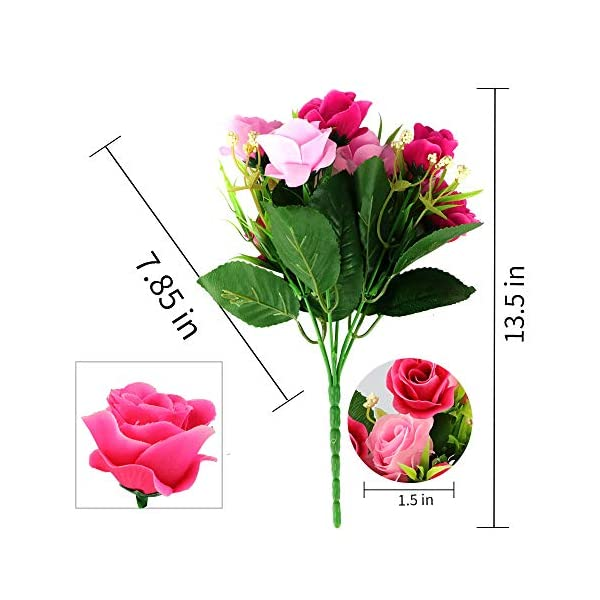 SUPNIU Artificial Fake Flowers Plants Silk Rose Flower Arrangements Wedding Bouquets Decorations for Table Centerpieces Home Garden Party Wedding Décor, Pack of 3(Blue Rose) (Pink Rose)