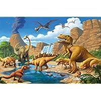 Great Art Poster Childrens Room Adventure Dinosaur ñ Wall Picture Decoration Dino World Comic Style Jungle Adventure Dinosaur Waterfall Wall Decor (55 pulgadas x 39.4 pulgadas /140 cm x 100 cm)