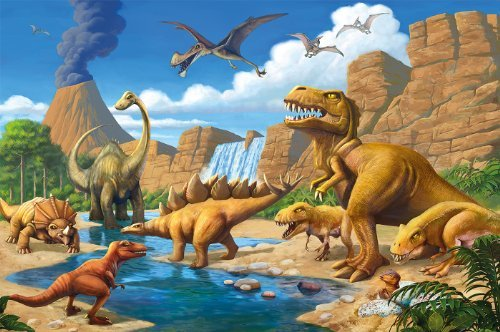 - Great Art Poster Childrens Room Dinosaur Adventure - Wall Picture Dino World Decoration Comic Style Jungle (55 Inch x 39.4 Inch /140 cm x 100 cm)