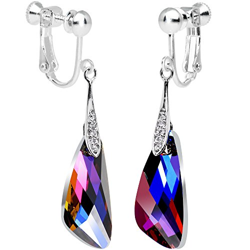 Body Candy Handcrafted Volcano Crystal Inspire Clip On Earrings Created with Swarovski Crystals