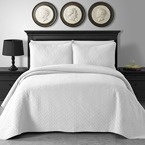 King & Queen Home Jigsaw Pattern 3-Piece Cotton Filled Coverlet Set (King/Cal King, - Jigsaw Pattern