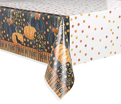 - Painted Pumpkin Halloween Plastic Tablecloth, 84