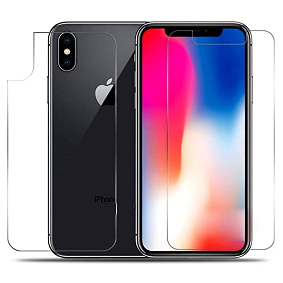 huge selection of 9d656 351ec iPhone X MAX Screen Protector, iKNOWTECH Front + Back Rear [9H Hardness  0.26 mm 2.5D] Premium Ultra-Clear Anti Scratch/Bubble Free Glass for iPhone  X ...