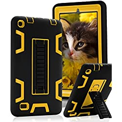 """SKYLMW Fire 7"""" (2015 release) Case,[Kickstand Feature],Shock-Absorption / High Impact Resistant Heavy Duty Armor Defender Case For Amazon Fire 7 Inch Tablet, Black Yellow"""
