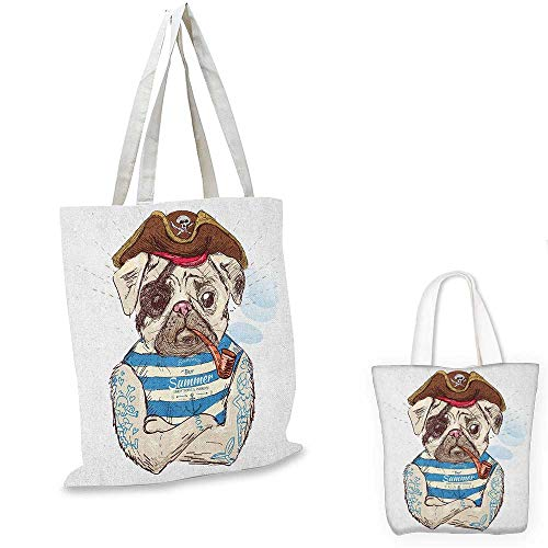 Pug royal shopping bag Pirate Pug Conqueror of the Seas Pipe Skulls and Bones Hat Striped Sleeveless T-Shirt funny reusable shopping bag Brown Blue. 14