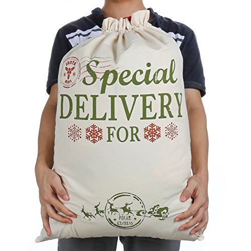 """Christmas Bag Santa Sacks for Gift Personalized Burlap Extra Large 19.7"""" X 26.8"""" with Drawstring for Xmas Presents Stocking Filler Decorations & Party Favors for Kids Girl Boy (Large)"""