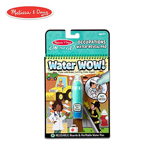 Melissa & Doug On The Go Water Wow! Occupations Reusable Water-Reveal Activity Pad, Chunky-Size Water Pen]()