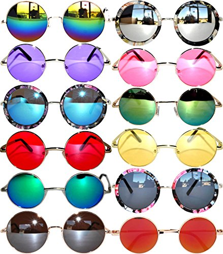 Round Retro Hipster Vintage Circle Style Tint Sunglasses Metal Colored Frame Colored Lens OWL (Wholesale Vintage Sunglasses)