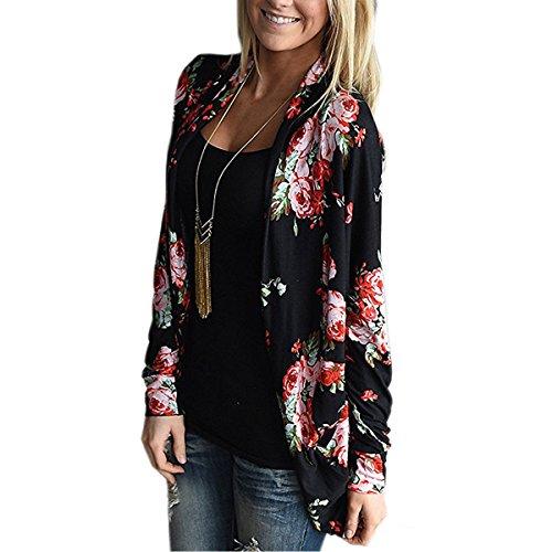 MUMUBREAL Women's Boho Long Sleeve Wrap Kimono Cardigans Casual Coverup Tops Outwear Black XXL (Wrap Cardigan)