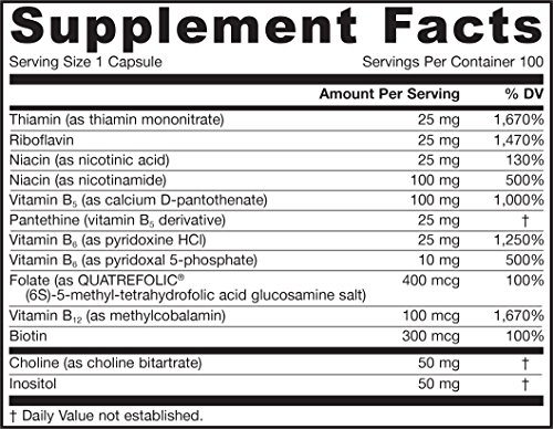 Jarrow Formulas B right Complex, Supports Engery, Brain and Cardiovascular Health, 100 Veggie Caps