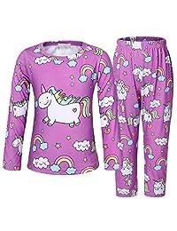 AmzBarley Rainbow Unicorn Girls Pajama Set Long Sleeve Shirt Pants Clothes