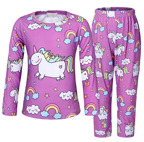 Girls Pyjama Set - AmzBarley Unicorn Pajamas for Girls Long Sleeve Cute Hourse Printed Clothing Sets PJS Sleepwear Size 6