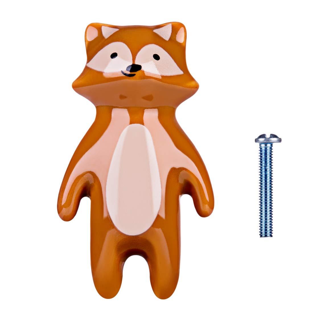 Batop 6Pcs M/öbelkn/öpfe Kinderzimmer Fuchs Kinder Keramik M/öbelkn/öpfe mit Tier Motiv Schrankgriffe T/ürkn/öpfe Schrankkn/öpfe Griff Knopf