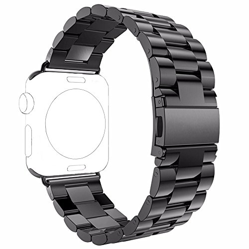 Apple Watch Band, PUGO TOP 38mm Stainless Steel Metal Replacement Classic Band for Apple Watch Series 2 Series 1 38mm, Space Gray (Stainless Metal)