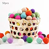 Baby Love Home Wool Felt Beads 50pc 100% Wool 2cm Flocking Ball DIY Christmas Decor Mix Color Wool Balls Holiday Theme