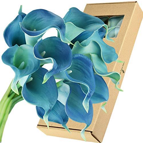 FiveSeasonStuff Real Touch Calla Lilies Artificial Flowers Wedding Bridal Bouquet Home Décor Party  Floral Arrangments   15 Stems (Cerulean Blue) ()