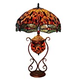 Tiffany Style Table Lamp - 18 Inch Stained Glass Art Desk Lamp - Living Room Bedroom Red Dragonfly Decoration Table Lights