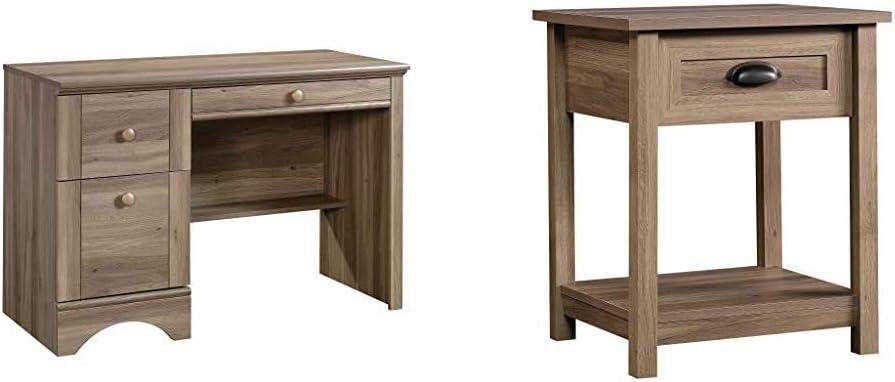 Sauder Harbor View Computer Desk, Salt Oak Finish & County Line Side Table/Night Stand, Salt Oak Finish