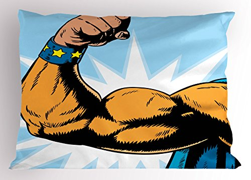 Comics Decor Pillow Sham by Ambesonne, Superhero Arm Flexing Muscles Powerful Fiction Character Cartoon Graphic, Decorative Standard King Size Printed Pillowcase, 36 X 20 Inches, Merigold Blue (Most Powerful Female Superhero)