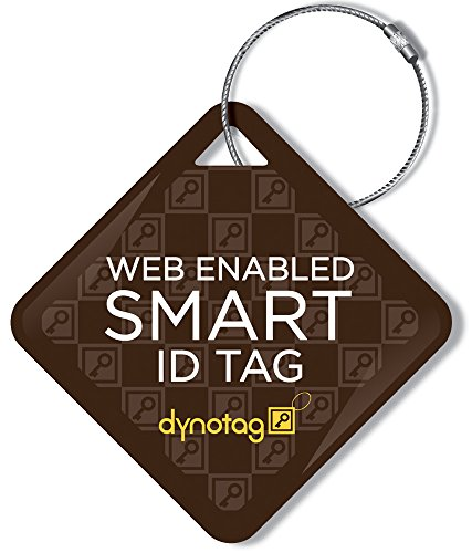 Dynotag Web Enabled Smart ID Tag, Delue Steel tag with Braided Steel Loop, with DynoIQ & Lifetime Recovery Service. Diamond (Brown) (Best Way To Securely Store Passwords)