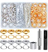 EuTengHao 100 Sets Grommet Tool Kit Metal Grommets Eyelets Sets 1/2 Inch with Install Tool Kit fo...