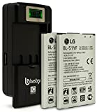 Two (2pk) LG BL-51YF 3000mAh OEM Standard Li-Ion Extended Battery For LG G4 Phone NON Retail Package(Certified Refurbished) plus One (1) Bastex External Dock LCD Battery Charger