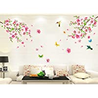 Fenleo Wall Stickers Large Cherry Blossom Flower Butterfly Art Decal Home Decor for Kids Rooms Bedroom Bathroom Living Room Kitchen (A, 60cmX 90cm)