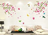 Fenleo Wall Stickers Large Cherry Blossom Flower Butterfly Art Decal Home Decor for Kids Rooms Bedroom Bathroom Living Room Kitchen