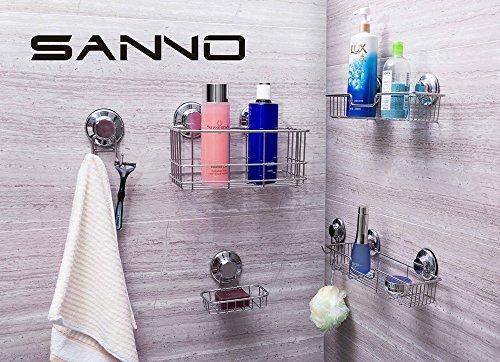 SANNO Bathroom Shower Caddy Bath Shelf Storage Combo Organizer, No Damage Suction Cup,Rustproof Wire Basket for Kitchen & Bathroom Accessories - Rustproof Stainless Steel
