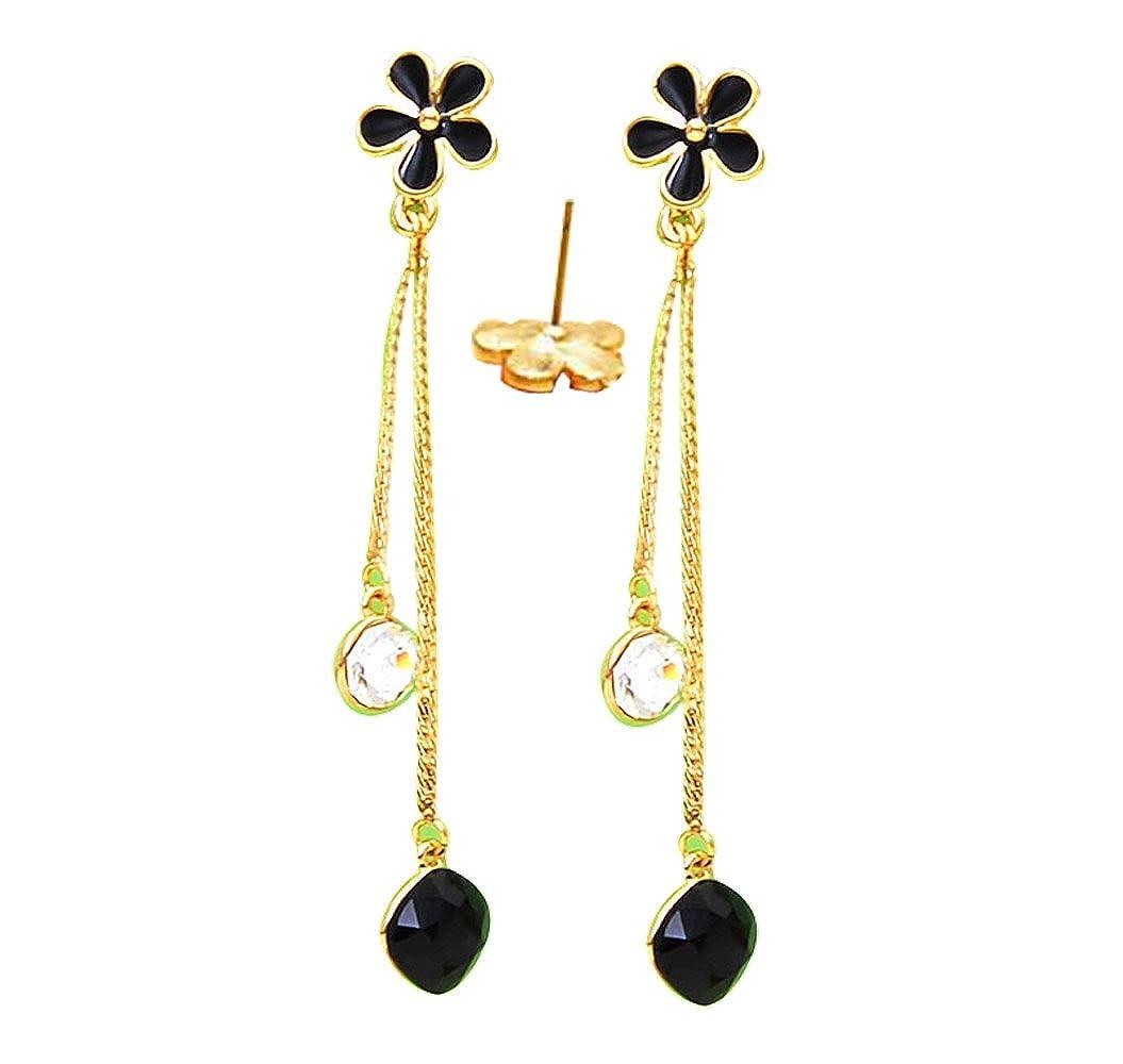 CNCbetter Women Fashion Jewelry Black Crystal Long Tassel Charms Stud Earring Birthday gift